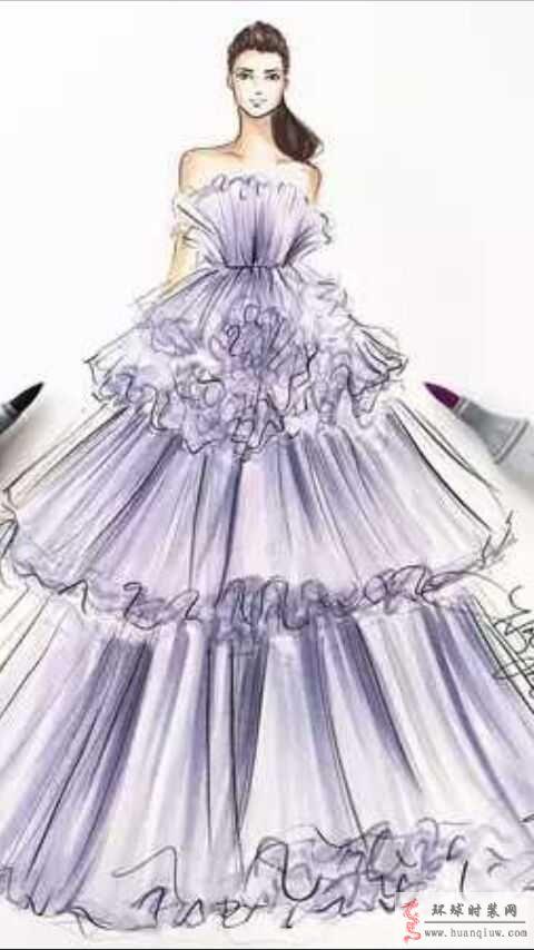 原创时装画作品-紫色礼服