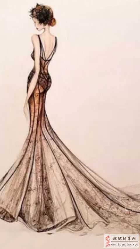 露背透视鱼尾礼服-原创时装画作品-原创服装设计作品