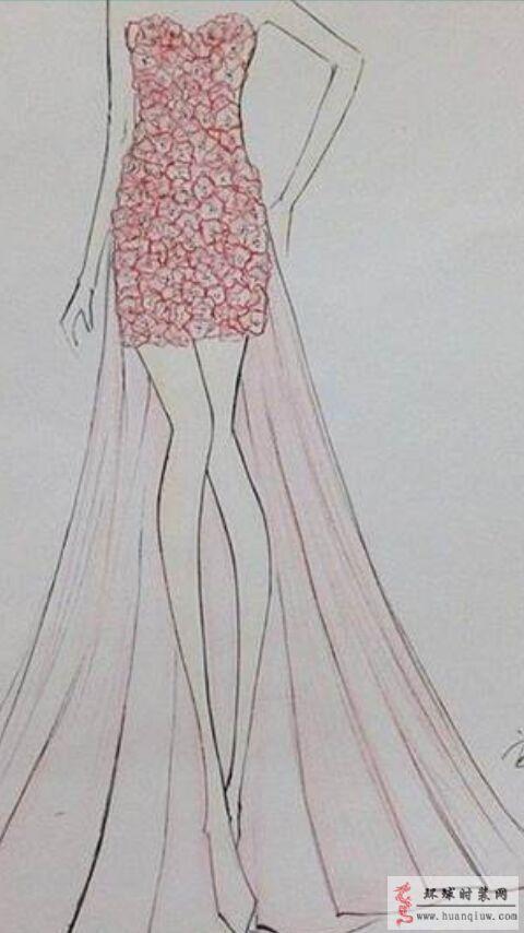 抹胸礼服时装画作品-也许吧