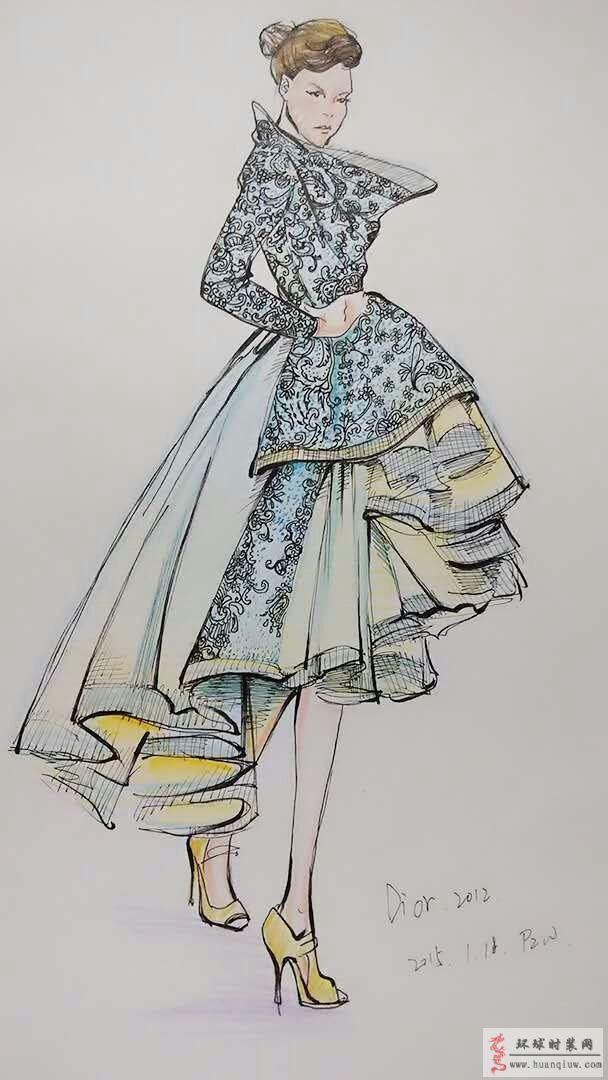 zw原创时装画-迪奥2012时装秀礼服-原创服装设计作品