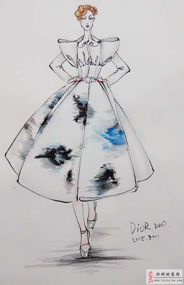 zw原创时装画-迪奥2007时装秀礼服-原创服装设计作品