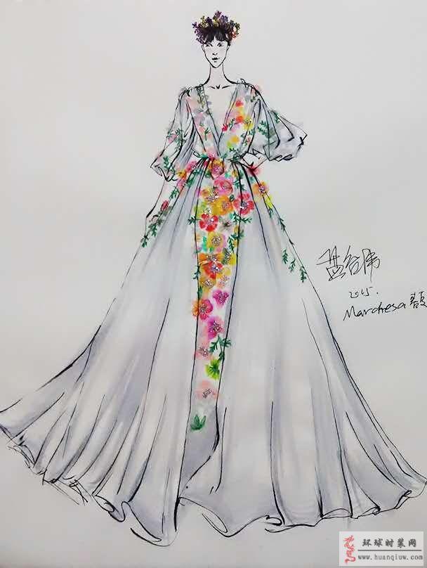 zw原创时装画-范冰冰嘎纳红毯花仙子造型-原创服装