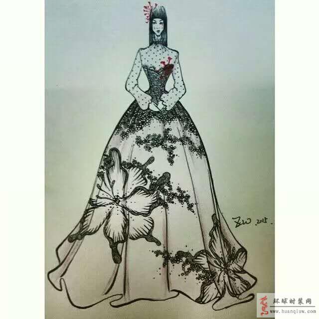 原创黑白蕾丝拼接抹胸礼服时装画手绘稿:这款礼服