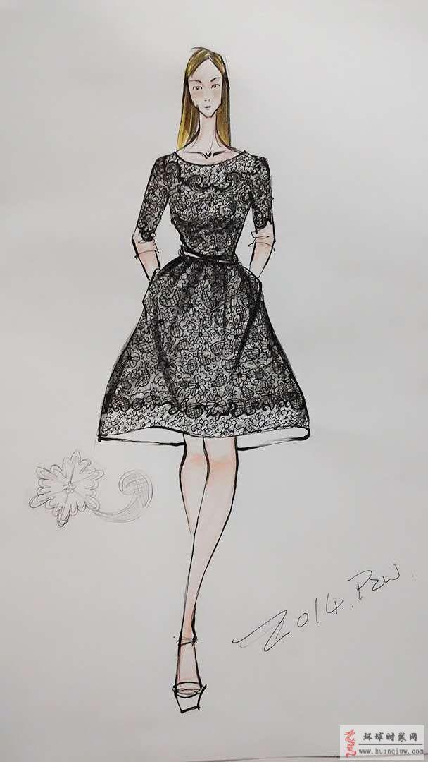 蕾丝连衣裙原创时装画手稿:蕾丝向来是展现女性特质的时尚元素,这款连衣裙简约精致,细节处凸显高贵典雅。大领口设计露出锁骨,性感迷人。领口袖口和裙摆处运用不同图案来提升设计感,同时又不显突兀。腰身处用细腰带勾勒,凸显性感身材。这款蕾丝连衣裙整体设计含蓄精致,高贵典雅。