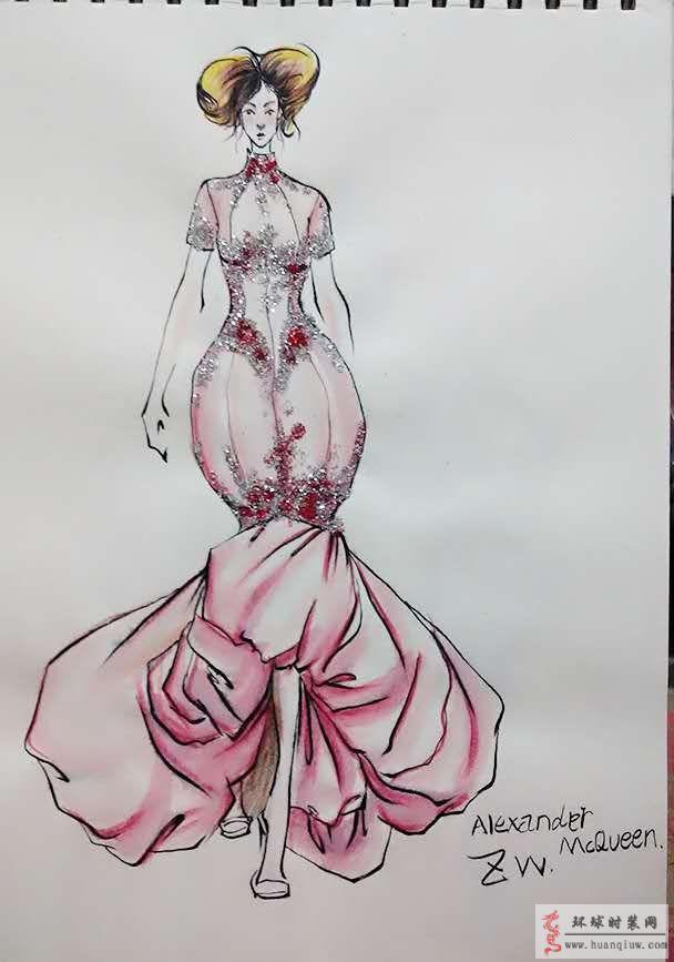 原创时装画亚历山大麦昆礼服-zw的作品-原创服装设计