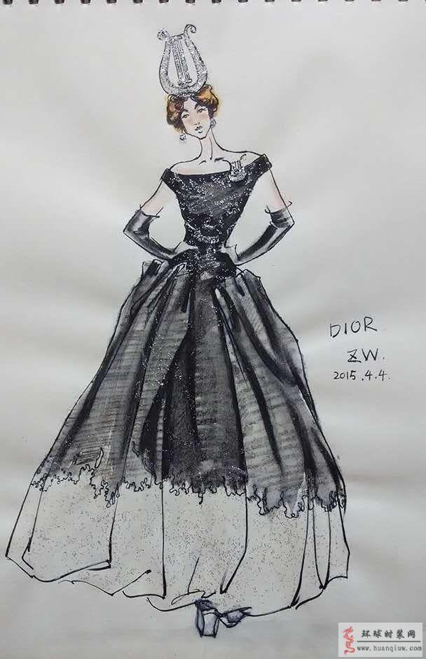 zw原创时装画-迪奥dior黑白礼服