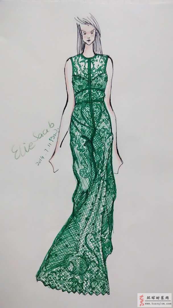saab绿色蕾丝礼服裙