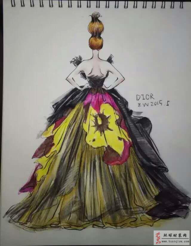 zw原创时装画-迪奥dior露背礼服裙-原创服装设计作品
