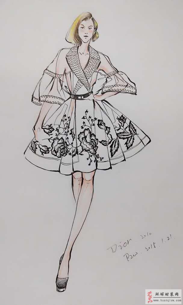 zw原创时装画-迪奥透视礼服-原创服装设计作品-环球