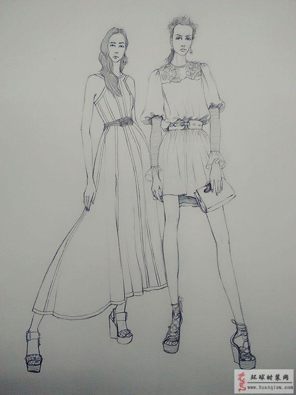 原创手绘线描服装设计效果图-ZW