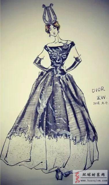 zw原创时装画-dior礼服裙
