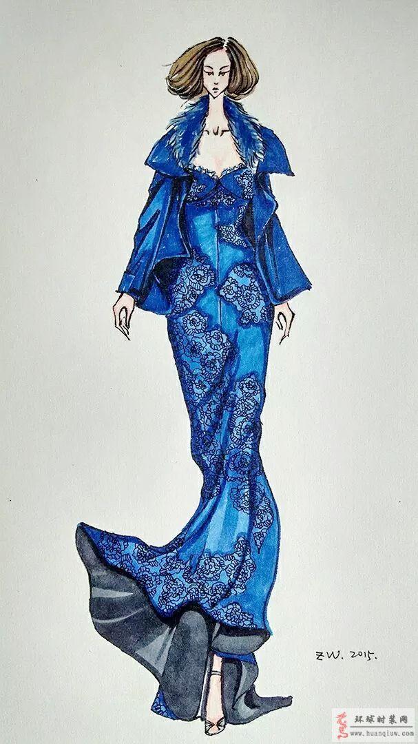 zw原创时装画-蓝色礼服