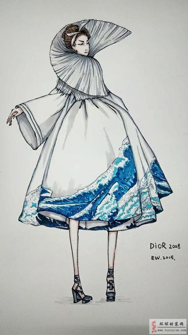zw原创时装画-dior礼服裙2008