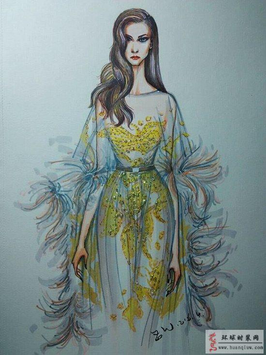 原创手绘服装设计图 镶钻羽毛装饰透视礼服