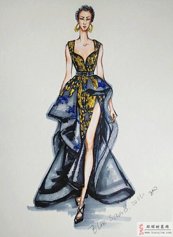 zw时装手绘图-原创服装设计作品-环球时装网