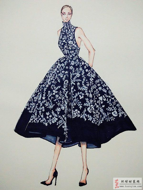 zw原创时装手绘图-印花礼服