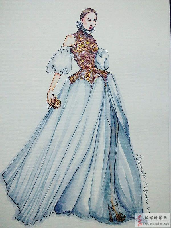 zw手绘时装画-礼服-原创服装设计作品-环球时装网