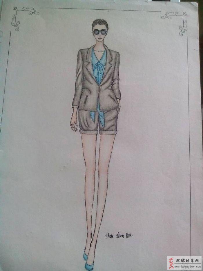 ol套装 手绘服装设计效果图