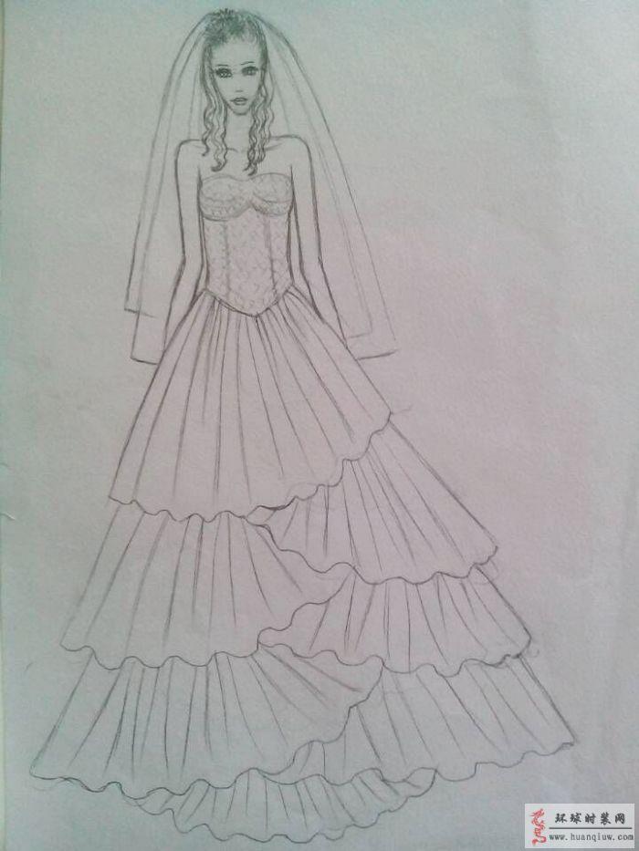 婚纱-手绘服装设计图