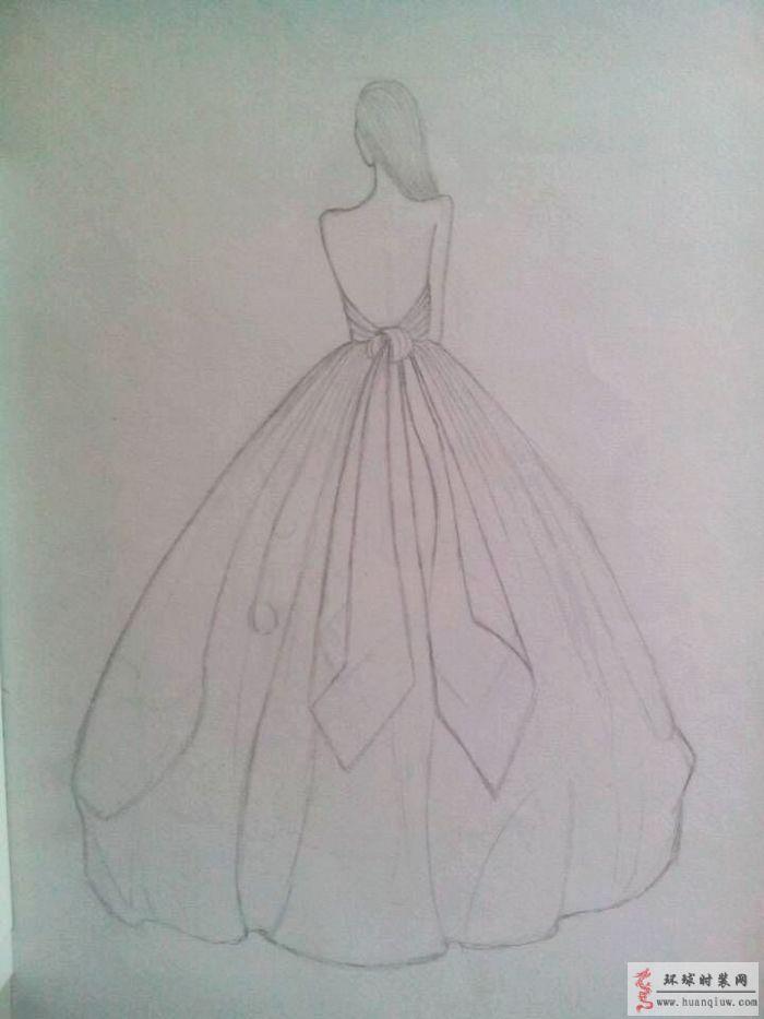礼服-周珍梅手绘服装设计图