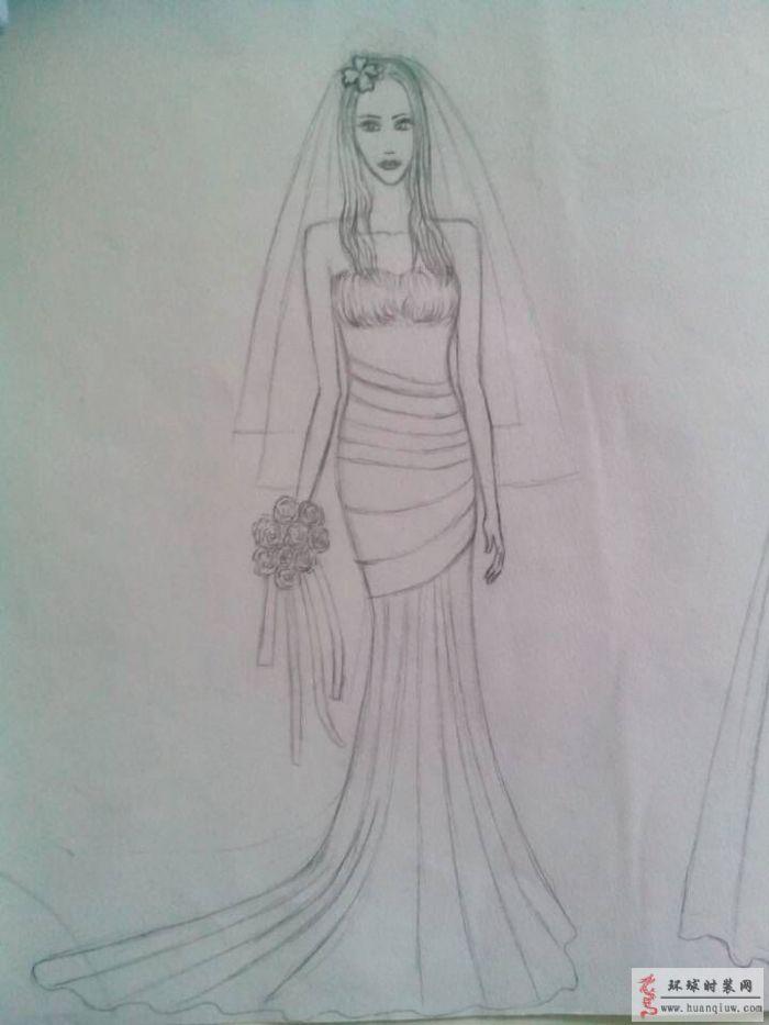 周珍梅婚纱手绘设计图-周珍梅