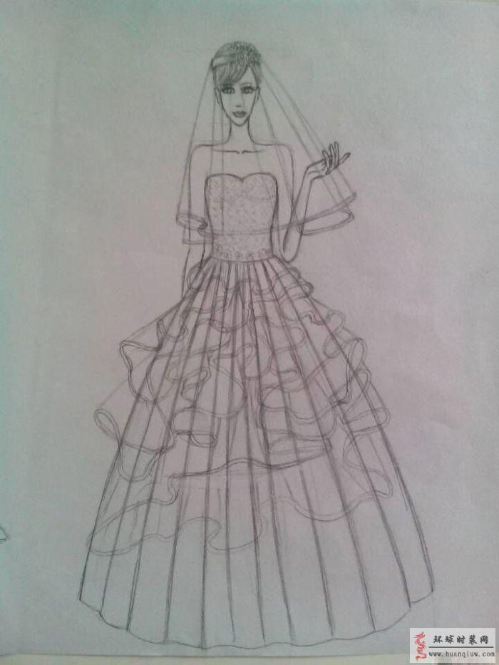 公主简笔画画法 步骤 婚纱