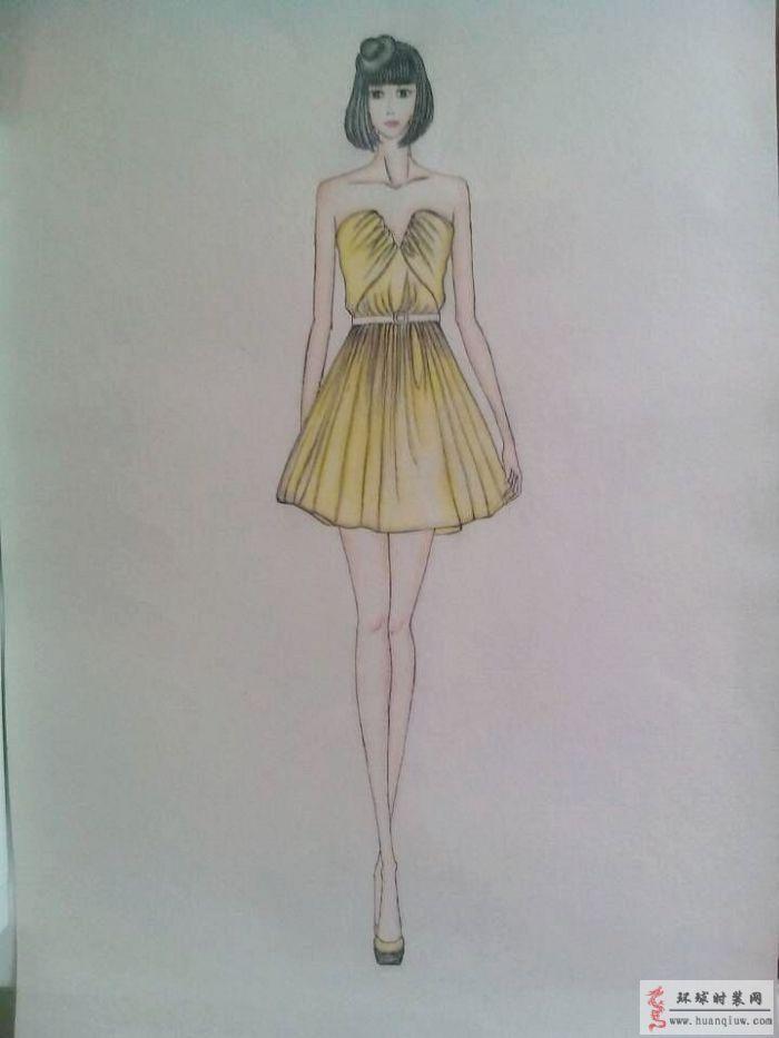 黄色礼服设计图-周珍梅的作品-周珍梅