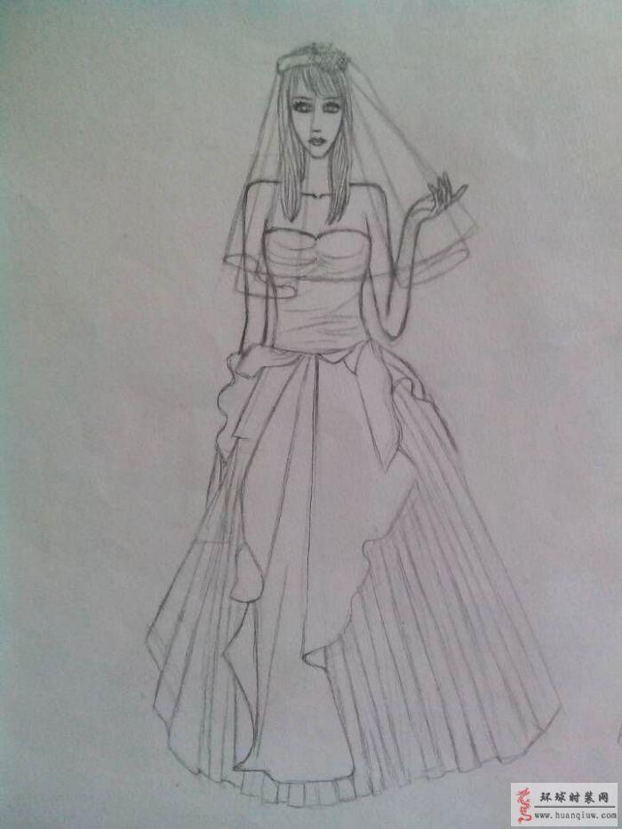 婚纱设计手绘图 周珍梅的作品婚纱设计手绘图 原创服装设
