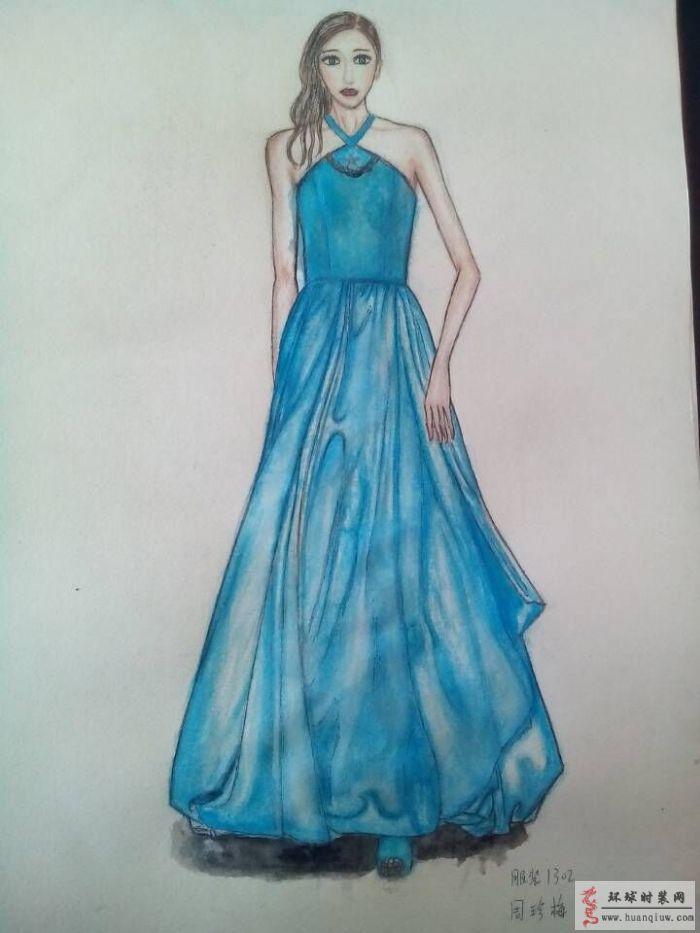 蓝色礼服手绘服装设计图