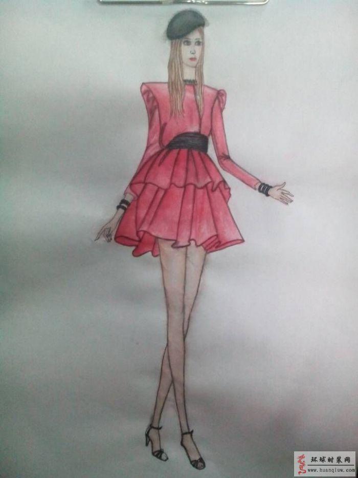 阔肩收腰红色礼服裙手绘服装设计