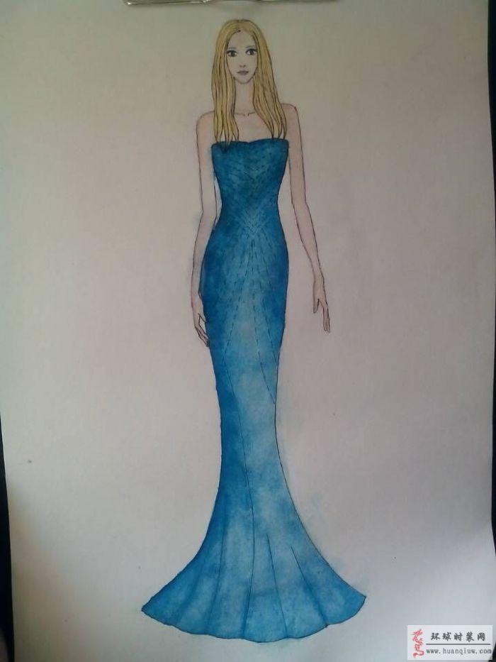 蓝色抹胸修身礼服裙原创手绘服装设计图-周珍梅