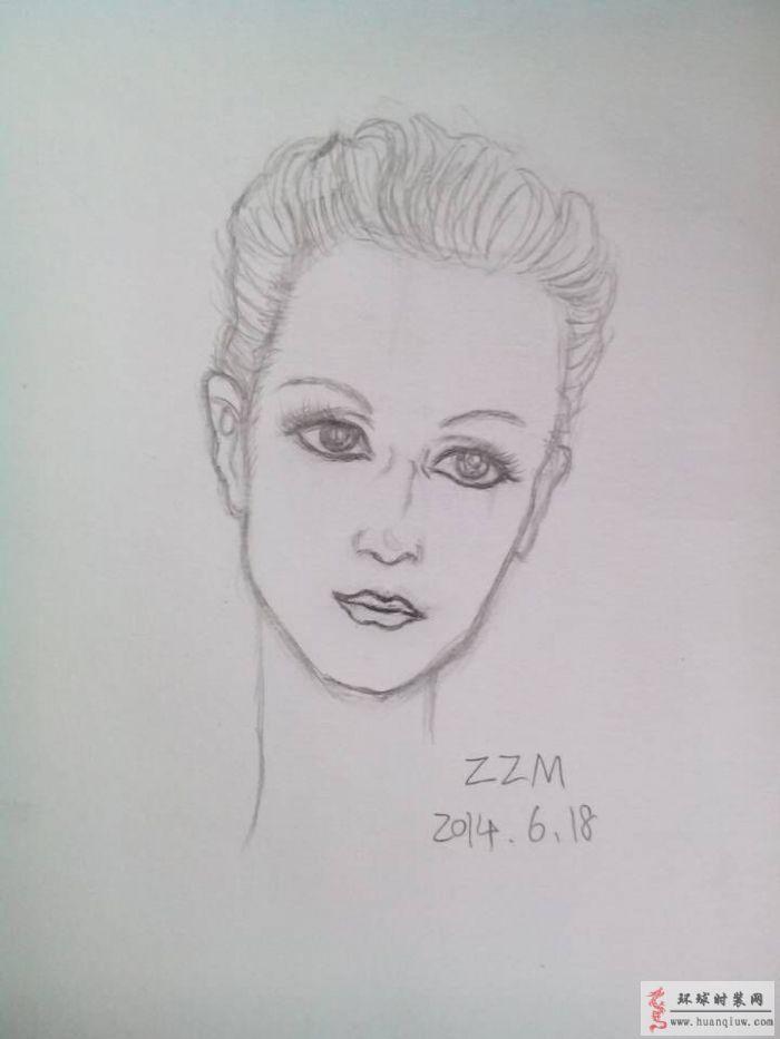绘画美女头像-周珍梅