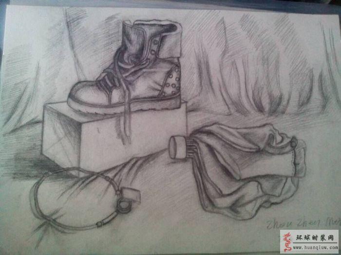 素描--鞋子和雨伞-周珍梅