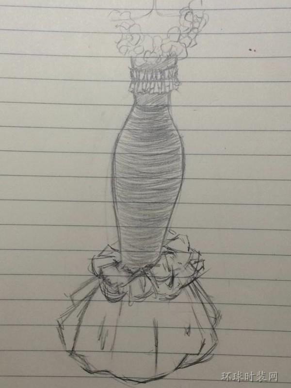 j的作品:原创手绘礼服设计图