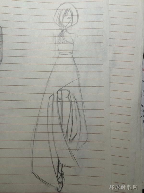 j的作品:原创手绘不规则裙摆礼服设计