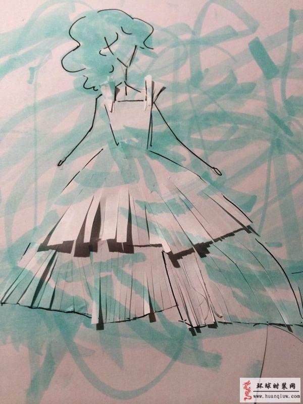 原创服装设计:收腰大裙摆礼服裙