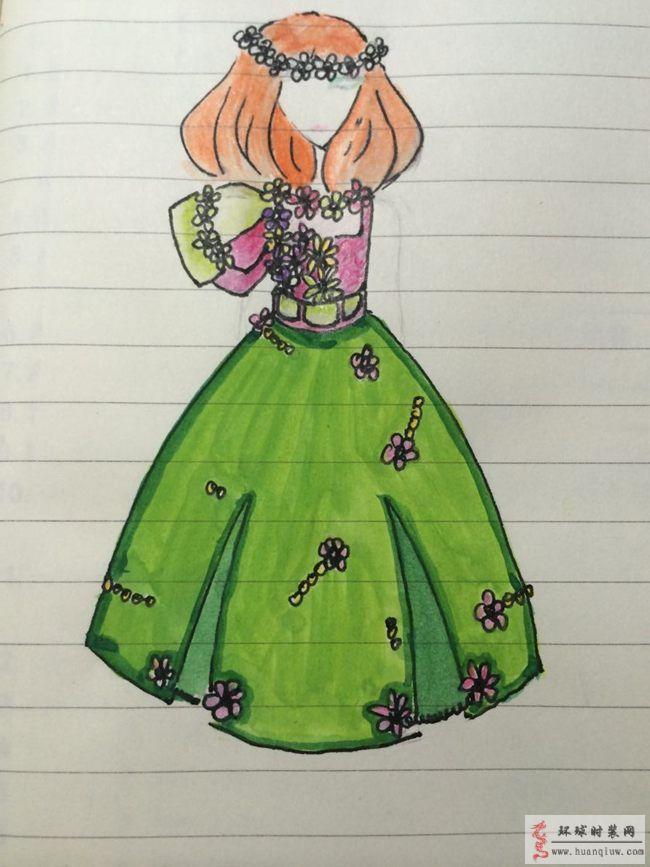 原创服装设计手绘图-立体花朵礼服