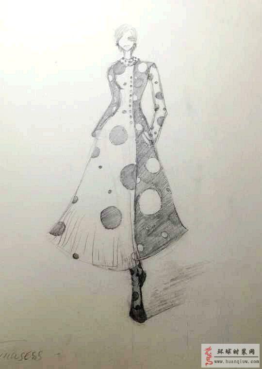 原创服装设计黑白波点连衣裙