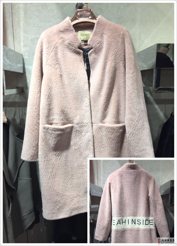 羊剪绒-皮毛一体-羊羔毛皮草外套女冬装大码-立领暗扣