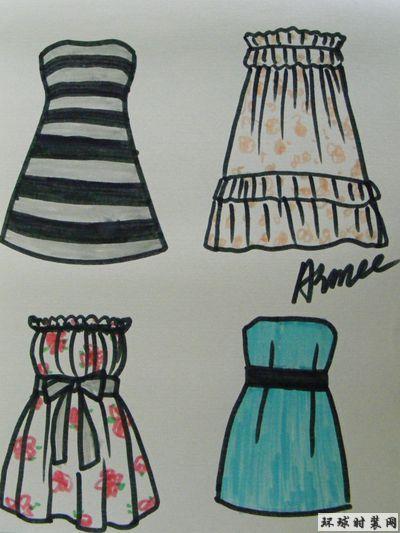 手绘服装款式图,抹胸连衣裙让普通的裙装更加性感起来,简单的修身