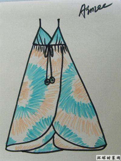 手绘吊带印花连衣裙款式图