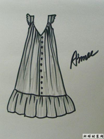 手绘时装款式图:宽松的睡衣款连衣裙,在时尚前卫的同时,也更加舒适