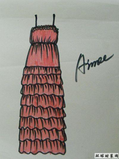 原创服装设计图:吊带收腰蛋糕礼服裙