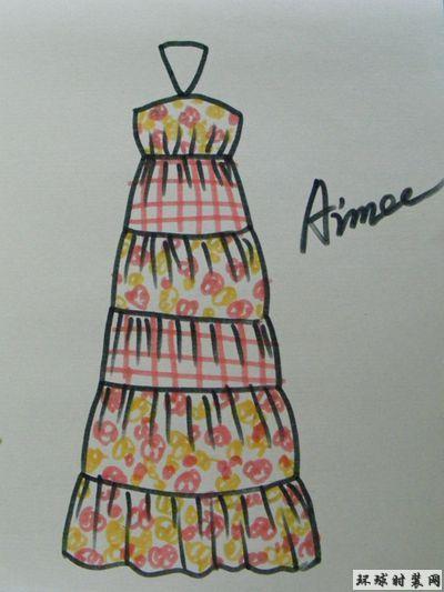 原创手绘吊带拼接连衣裙设计图