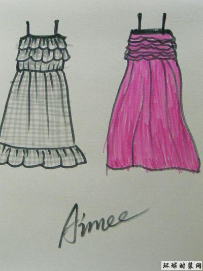 原创手绘吊带花边连衣裙设计图