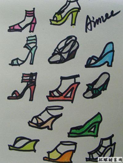 原创手绘时装高跟鞋设计图