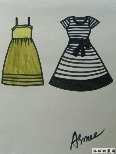 服装款式图:连衣裙-原创服装设计作品-环球时装网