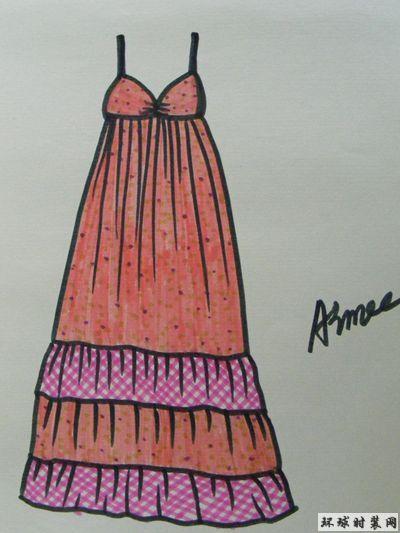 时装款式图:吊带拼接连衣裙-原创服装设计作品-环球
