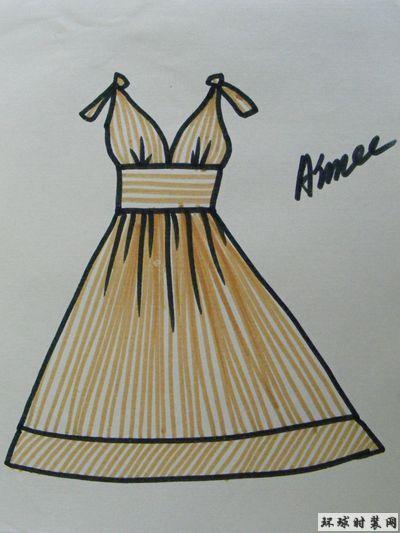 时装款式图:条纹收腰连衣裙-原创服装设计作品-环球
