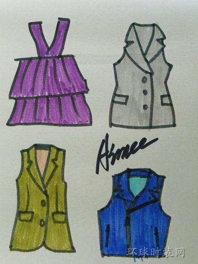 原创手绘服装设计图—马甲